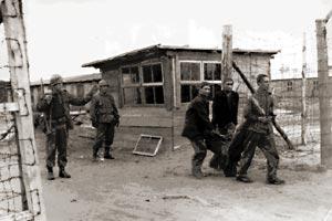 Eingangstor nach der Befreiung (Foto: USHMM)