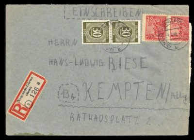 Brief als Einschreiben mit Zählnummer 126 von der R-Marken-Rolle a von Neustadt-Glewe nach Kempten / Allgäu (eine kreisfreie Stadt mit über 70.000 Einwohnern im Allgäu im bayerischen Regierungsbezirk Schwaben.), abgestempelt am 4. März 1946.